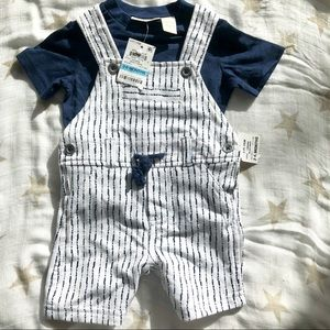 NWT First Impressions 2 piece short overall set